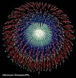 фейерверки, создающие в небе ориентированные в пространстве сложные фигуры
