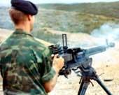 Стрельба из пулемета ДШКМ. Станок в положении для стрельбы стоя.